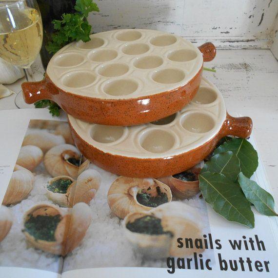 Two u0027Emile Henryu0027 Vintage French Snail Plates with Twelve u0027Wellsu0027. Vintage French Escargot Serving Dishes from the 1970u0027s & 42 best Vintage Plate Sets images on Pinterest