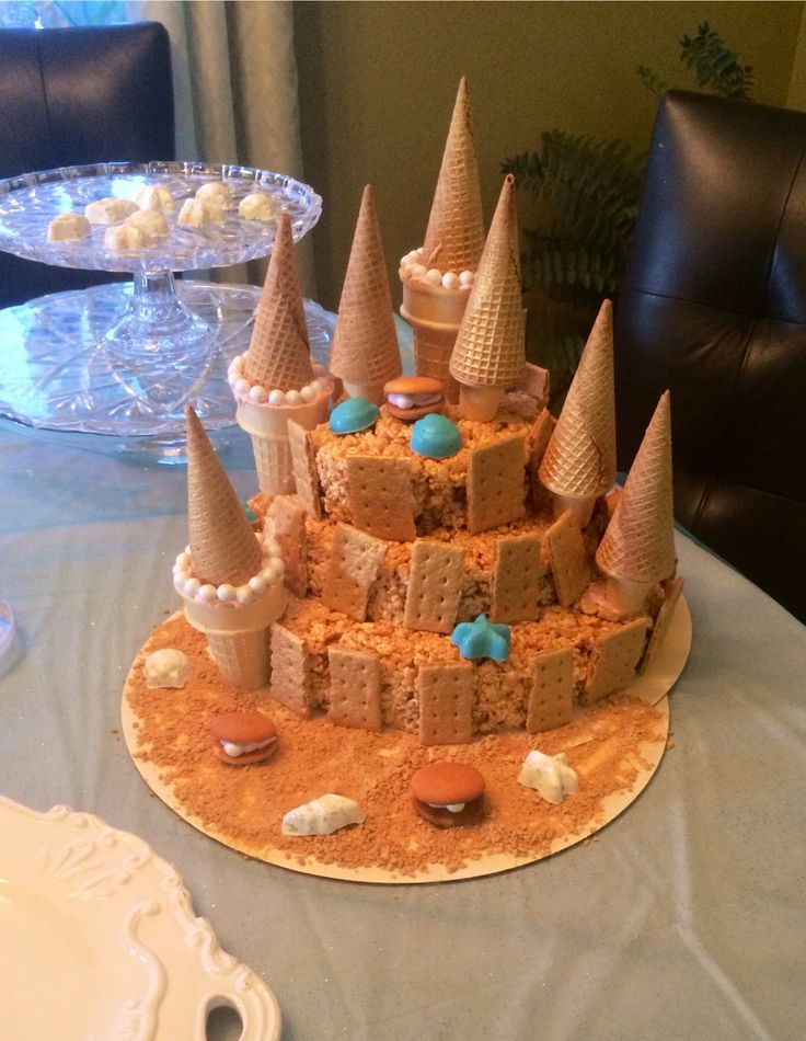 Made this Rice Crispy Treat castle for Kendal's mermaid party.