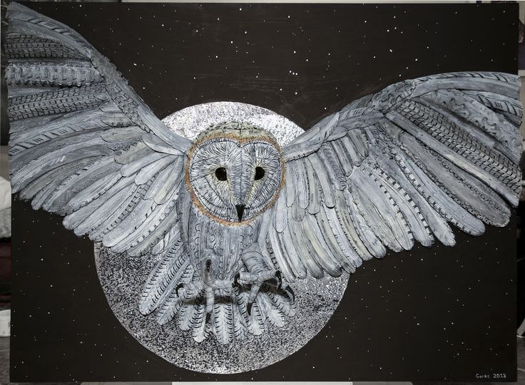 """""""Death Owl"""" 36"""" x 48"""" Recycled Bike Tires on Aluminum"""