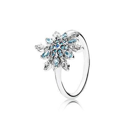One of the season's must-have styles, this stunning and sculptural ring profiles an eye-catching snowflake in brilliant shades of blue. It will make you feel red carpet ready in an instant. #PANDORA #PANDORAring