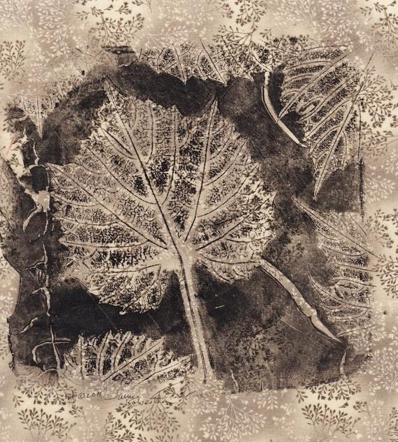 Gelatin plate leaf print on fabric