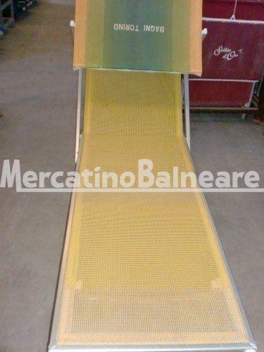 LETTINI IN ALLUMINIO PEZZI 15 EURO 63.00 CAD. - Mercatino Balneare lettini in alluminio modelli misti, tela twm giallo parasole svg, con scritta  bagno torino, tele scolorite in fondo, prezzo cadauno iva esclusa Quantità:15 Prezzo €63.00+iva  http://www.mercatinobalneare.it/annuncio/lettini-in-alluminio-pezzi-15-euro-63-00-cad/  #stabilimentobalneare #attrezzaturabalneare #attrezzaturabalneareusata #mercatinobalneare #attrezzaturabalnearenuova #annunciusato #lido #