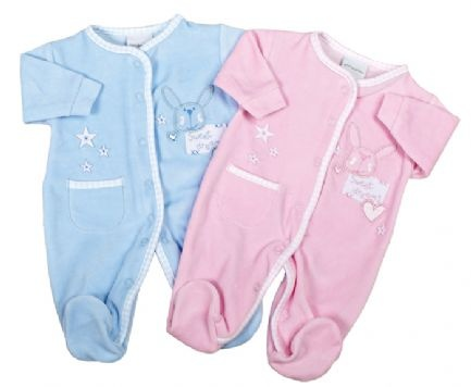 """Premature Baby Velour Sleepsuit. Supersoft with """"Sweet Dreams"""" Rabbit design on one side and Stars with a Patch Pocket on the other side. Beautiful Gingham edgeing with front opening. Perfect for keeping baby warm. Available in Pink and Blue. In sizes 2-3lbs, 3-5lbs, 5-8lbs, Newborn, 0-3 Months, 3-6 Months."""