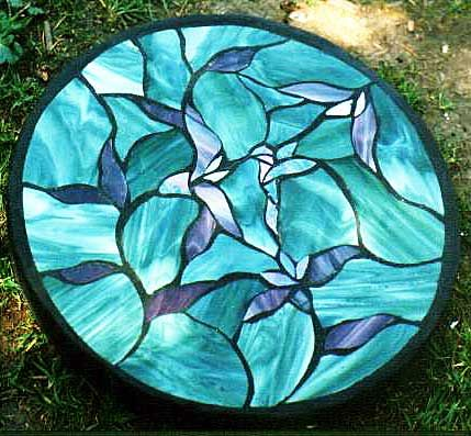 Stain glass stepping stone