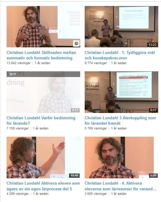 Filmer om bedömning för lärande (#bfl) med Christian Lundahl http://www.youtube.com/user/GRUtbildning/videos?sort=p=0=grid Christians twitterflöde https://twitter.com/DrLundahl Svedala beskriver grunderna i bfl http://webb2.svedala.se/utbildning/?page_id=462 och har med minst en film med Christian: http://www.youtube.com/watch?v=PgOnEHYS-o0