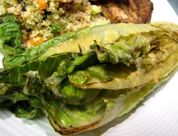 Grilled Romaine Hearts With Caesar Vinaigrette from Food.com: This is so good! My mom found this recipe in USA Weekend newspaper. We never grilled lettuce before and to my surprise it was still crispy.