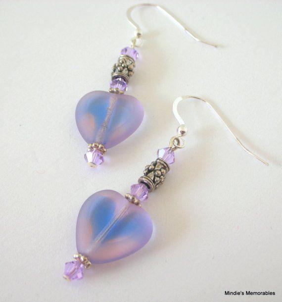 Lavendel paars hart oorbellen Valentijnsdag geschenk door Mindielee