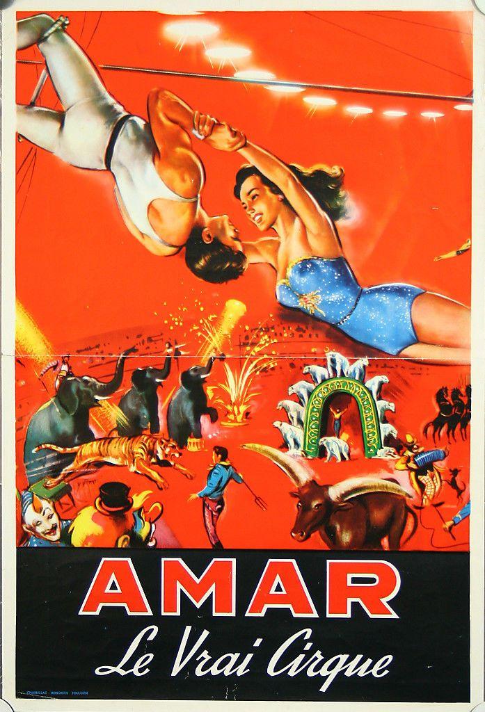 Affiche Cirque Amar Spectacle Trapèze Animaux Elephant Tigre Ours Polaire | eBay