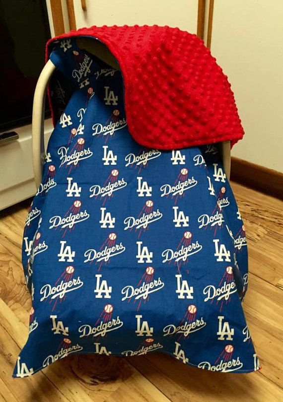 LA Dodgers Canopy/Car Seat Cover/Car Seat by SewSweetBabyDesigns