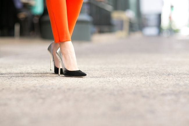 Jimmy Choo Degrade Anouk silver and suede Suiting Up :: Orange jumpsuit