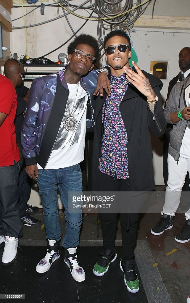 Recording artists Rich Homie Quan and August Alsina visit 106 & Park at BET studio on May 5, 2014 in New York City.