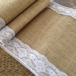 Hessian Table Runner Lace Edged, Made in New Zealand