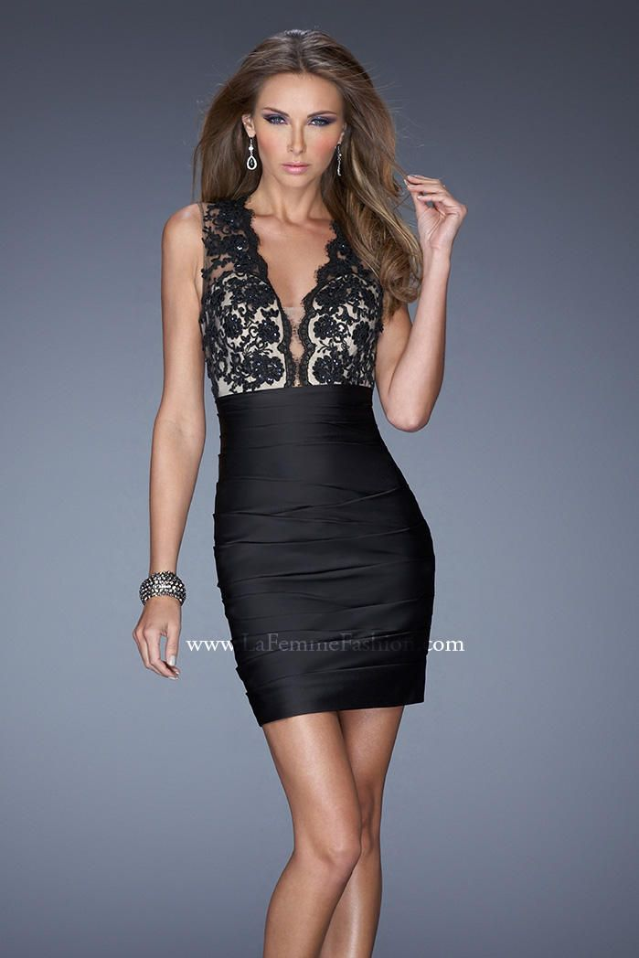 Short fitted black lace dress