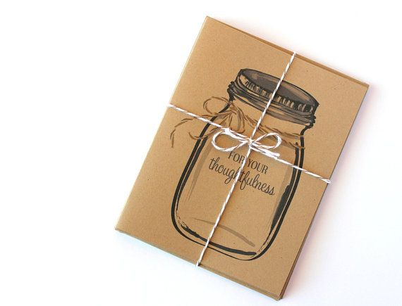 Kraft Mason Jar Thank You Note Cards (wedding stationery) by #Paperlaced on #etsy {$8 for a set of 5!}