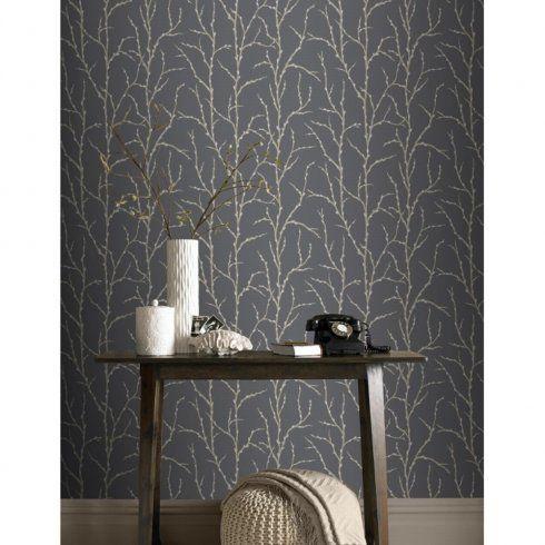 Rasch Allure Tree Twig Branch Pattern Silver Glitter Wallpaper 309720