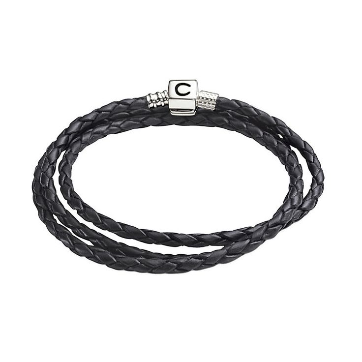 "Chamilia Sterling Silver & Black Leather 22.2"" Bracelet - Product number 1987496"