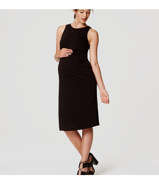 LOFT Petite Maternity Sleeveless Side Shirred Dress