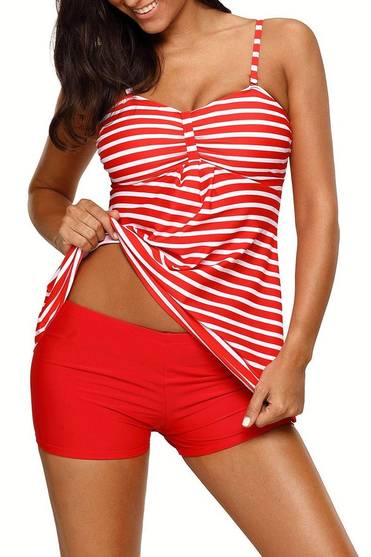 Red White Striped Tankini and Short Set
