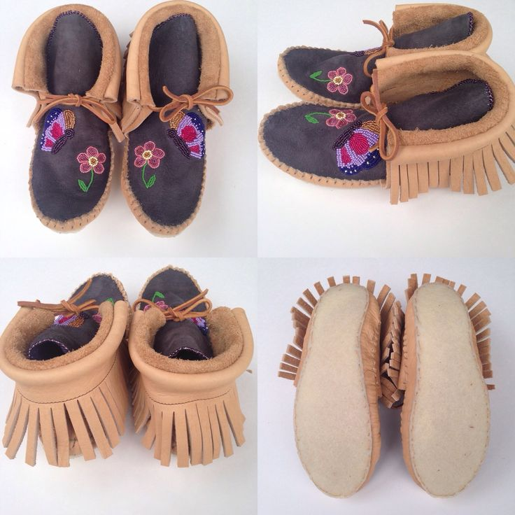 Custom Butterfly beaded moccasins.