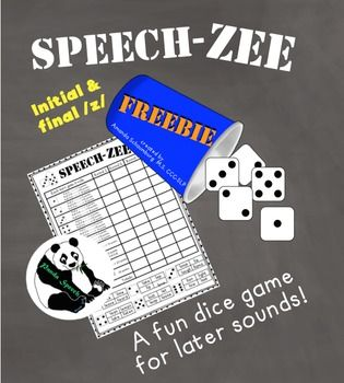 SPEECH-ZEE An Articulation Dice Game FREEBIENeed a new, engaging way to target later articulation sounds for those hard to motivate students? Give this a try! Included in this download: Initial and final /z/. Repinned by SOS Inc. Resources pinterest.com/sostherapy/.
