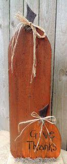 Primitive wooden pumpkin door greeter by My Spare Time Designs