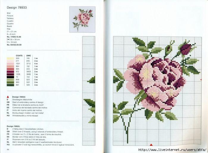 Вышивка крестом, схемы Буклет RICO-125 цветы на скатерти, подушки, передники. Обсуждение на LiveInternet - Российский Сервис Онлайн-Дневников