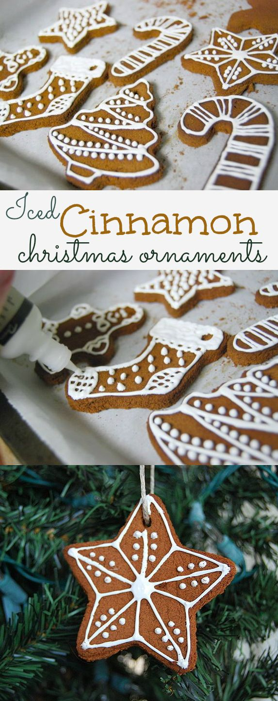 Cinnamon spice ornaments, 'iced' with fabric paint for Christmas, by creativemeinspiredyou.com