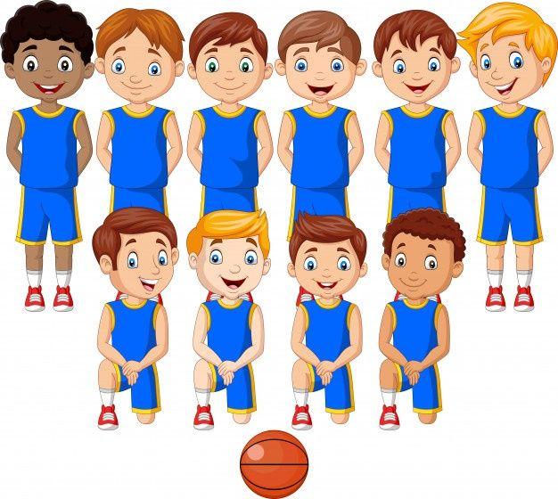 Equipo De Ninos De Baloncesto De Dibujos Animados En Uniforme Cartoon Kids Basketball