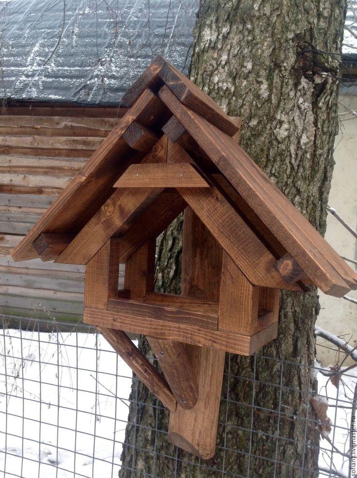 Купить Кормушка для птиц и белок. 70х50 /2 - коричневый, русский стиль, дерево, кормушка, птица