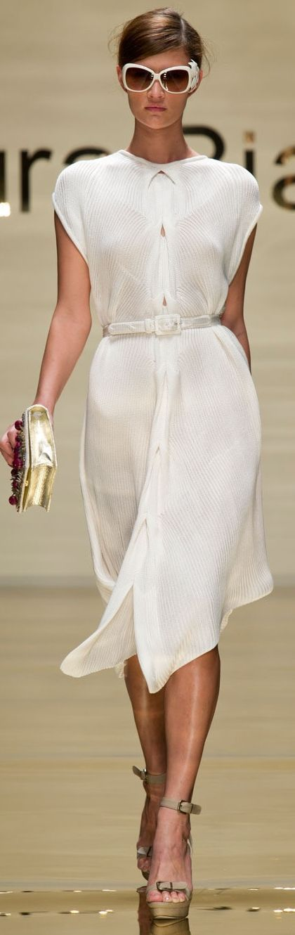 Laura Biagiotti white dress @roressclothes closet ideas women fashion outfit clothing style