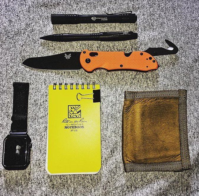 @indiana_edc (on IG)  submitted by Reed  Rite In The Rain Notepad  Recycled Firefighter The Captain  Benchmade 915BK Triage  CRKT Tactical Pen  Streamlight Stylus Pro  Apple Watch Sport 42mm Space Gray Aluminum Case with Black Sport Band