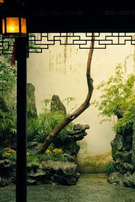A corner of Suzhou-style Chinese garden: organic sculpture of plantation and stones before the white background of wall