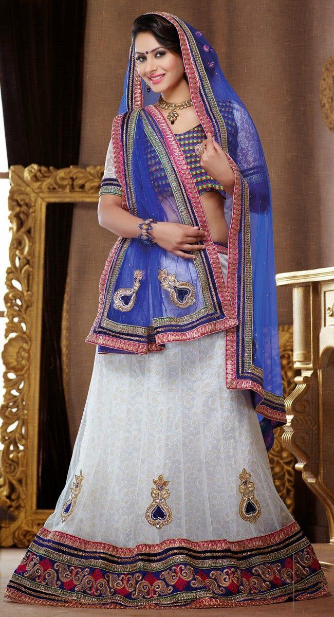 Off-White color Party Wear #LehngaCholi-Net Lehenga Choli