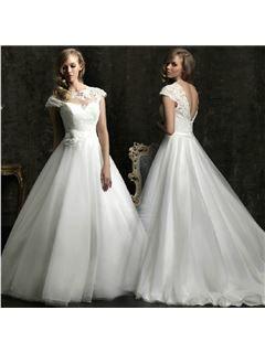 Modern A-Line Short Sleeves Court Train Lace Wedding Dress