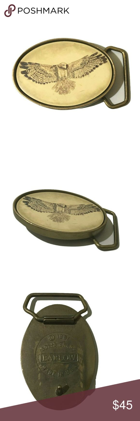 Belt Buckle Vintage, Rare Bird Belt Buckle This rare vintage belt buckle would be a great gift for that bohemian bird lover.   Oval Brass with eagle   Good vintage condition with some small scuffs and scrapes Accessories Belts