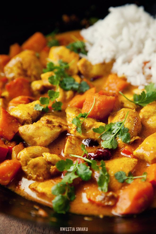 Chicken, pumpkin and cranberry curry