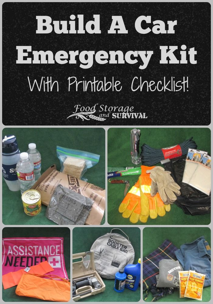 Build an emergency kit for your car!  Great instructions with printable checklist!  This could save your life!  From FoodStorageAndSurvival.com