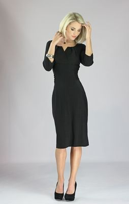 """One of our most popular dresses EVER--the """"Katherine"""" Modest Dress in Black is a must-have! You'll love the unique neckline, gathered ruching on the sides, and the below-elbow sleeves! Also available in Plum!"""