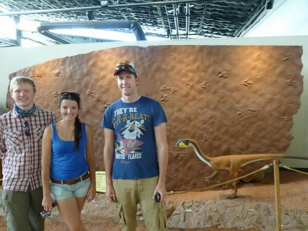 195 million year-old dinosaur tracks at the St George Dinosaur Discovery site, Utah (and our geology fieldtrippers :)