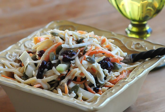 Fall Slaw with Maple Tahini Dressing by rawmazing #Coleslaw #Raw #Maple_Tahini