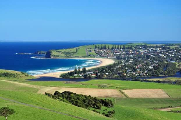 The Beautiful seaside village of Gerringong south of Kiama and Werri Beach taken from Mount Pleasant Lookout. Behind the hill is Gerroa and Seven Mile Beach.