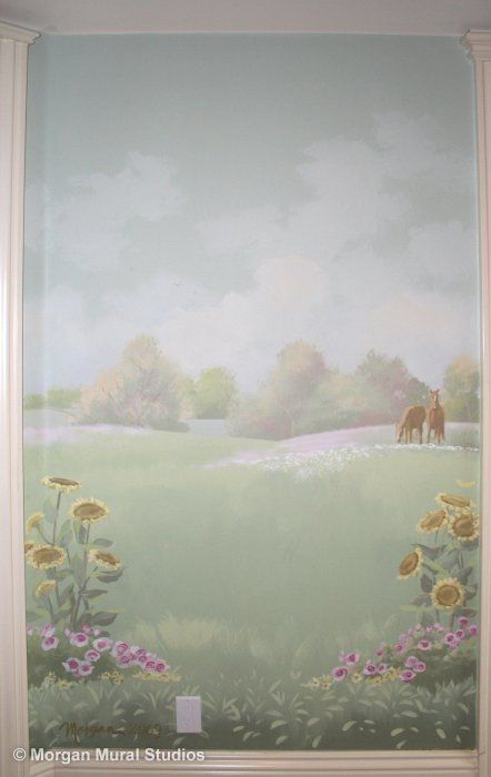 Pastoral Landscape Nursery Mural - Gracing Horses