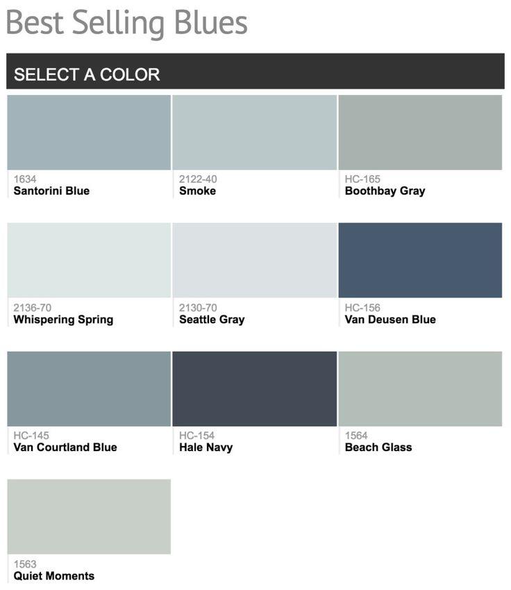 Best selling Benjamin Moore Blue Paint Colors.