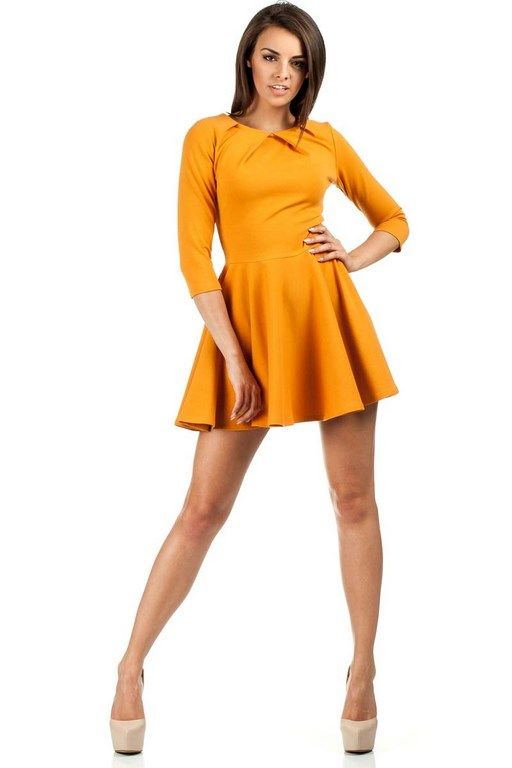 Yellow dress with sleeves 3/4 length