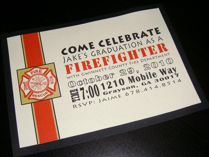 Fire Fighter Graduation Invite Blacky Designs