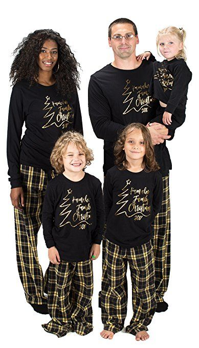 KAMAL OHAVA Personalized Matching Family Christmas Pajamas in black gold -  Other color options available  familychristmaspajamas 85225b163