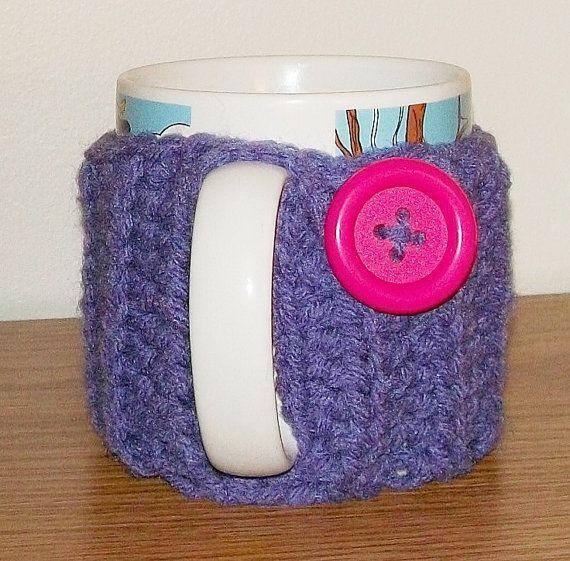 Handmade Crocheted PURPLE Coffee Cup Mug Cozy with by OwlsBasket