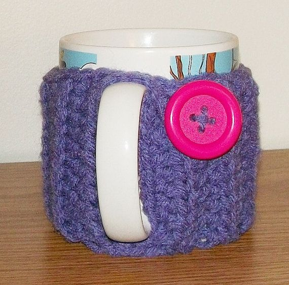 Hand Crocheted PURPLE Coffee Cup Mug Cozy with by OwlsBasket
