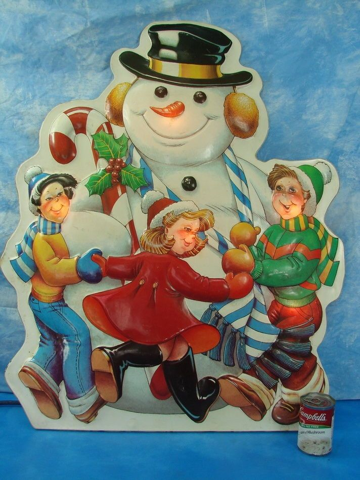 Large Noma Decor Lites Vintage Plastic Hanging Wall Light Snowman