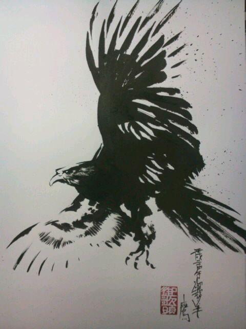 墨絵 鷹 ( 絵画 ) - 墨絵師 御歌頭(okazu) - Yahoo!ブログ